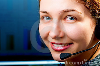 Customer service - friendly woman with headphones