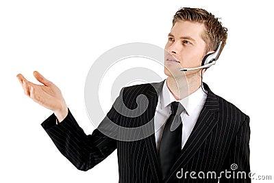 Customer service operator with hand raised