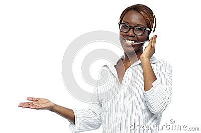 Customer service representative attending calls