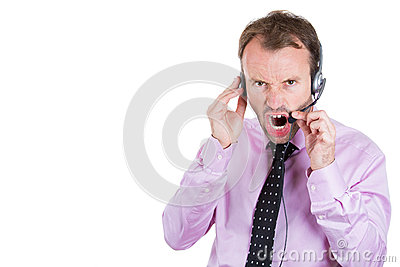 Customer service representative, businessman, being mad, angry, screaming on his hands free phone