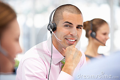 Customer service representative helping customer