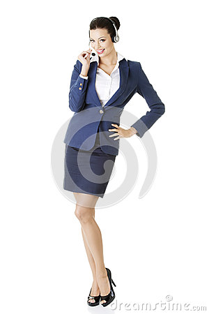 Customer service representative holding businesscard.