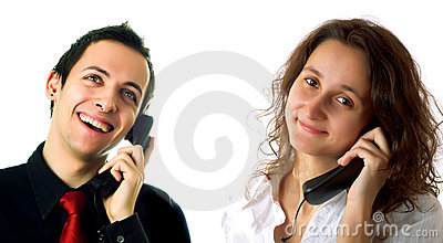 Customer service representative lady and guy