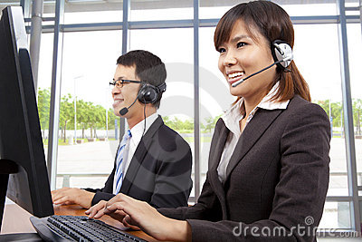 Customer service representative in modern office