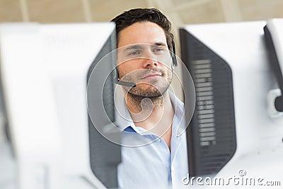 Customer service representative using computer