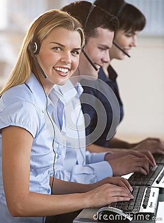 Customer Service Representatives at Computers