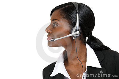 Customer service support operator looking away