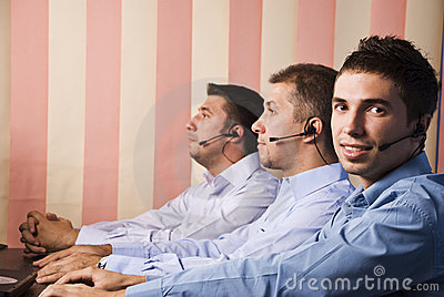 Customer service team with three men