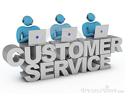 Customer service words and group of workers standing behind