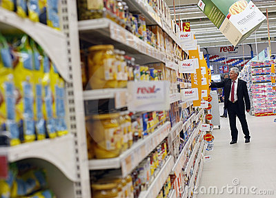 Customer shopping at supermarket Editorial Stock Image