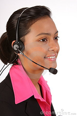 Customer support by beautiful female on telephone