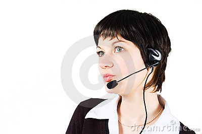 Customer support girl in call center