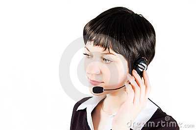 Customer support girl in call center