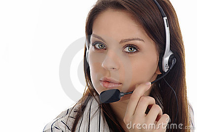 Customer support girl.Call center