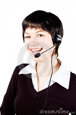 Customer support girl in call center smiling