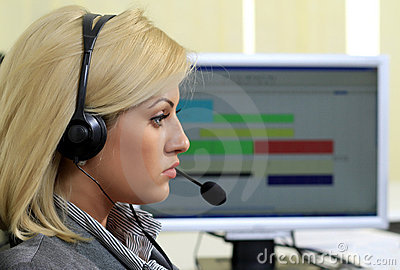 Customer support operator in the call center