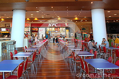 Customers buying fast food at KFC Editorial Photo