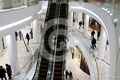 Customers on the levels of a mall