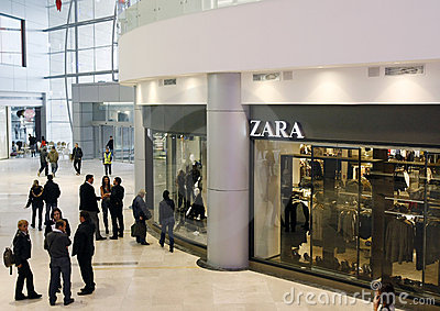 Customers shopping in mall - Zara store Editorial Image