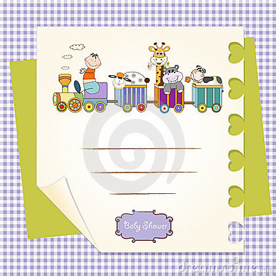 Customizable birthday card with animal toys train