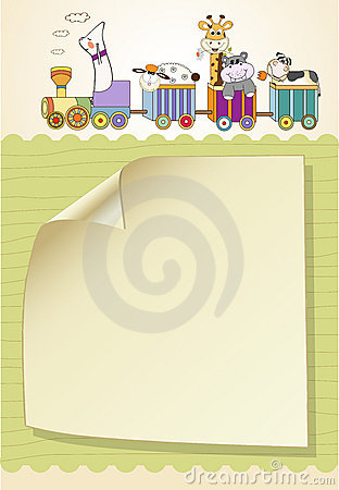 Free Customizable Birthday Card With Animal Toys Train Royalty Free Stock Photography - 20561267