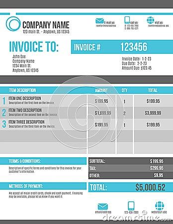 Free Customizable Invoice Template Design Stock Photo - 40674810