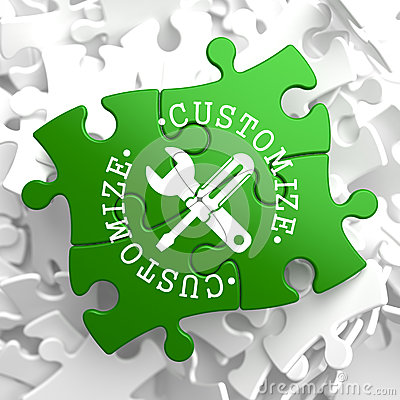 Free Customize Concept On Green Puzzle Pieces. Royalty Free Stock Image - 34434556