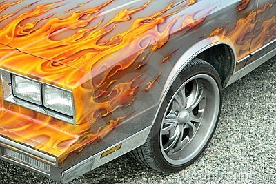 Customized flames on car