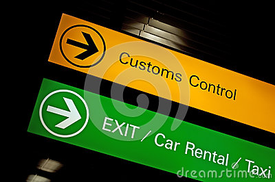 Customs control sign.
