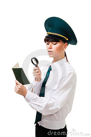 Free Customs Control Worker Carefully Check Documents Royalty Free Stock Photography - 12633257