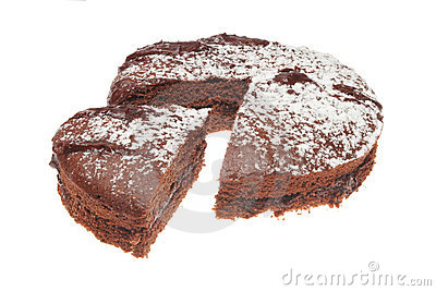 Cut chocolate sponge cake