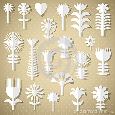 Cut flowers of white paper