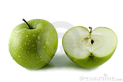 Cut green apple