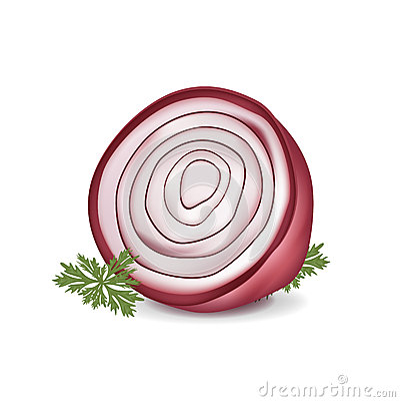Cut in half red onion