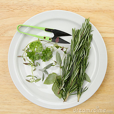 Cut herbs on a plate