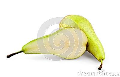 Cut juicy pear