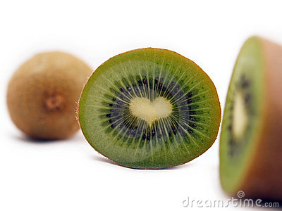 Cut kiwi shows a heart-shape