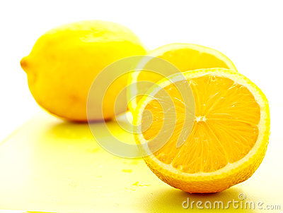 Cut lemon on white background 1