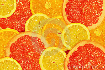 The cut lemons, oranges and grapefruits