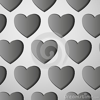 The cut-out gray hearts
