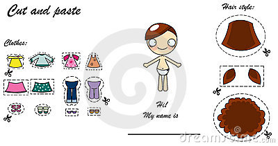 Cut and paste dress doll