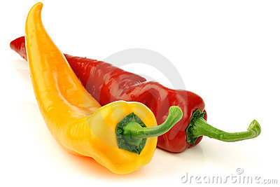 cut red and yellow sweet pepper(capsicum)