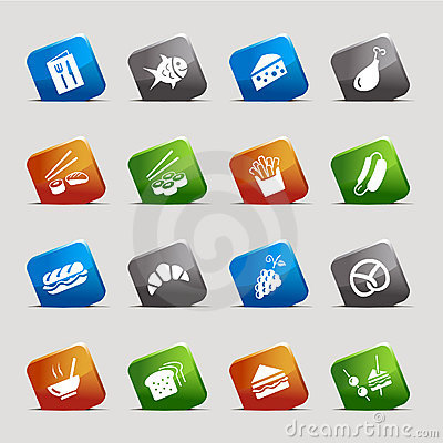 Free Cut Squares - Food Icons Royalty Free Stock Photo - 23192405
