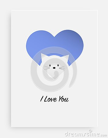 Free Cut The Heart On The Paper And White Cat Stock Photography - 129913312