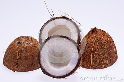 Cut coconut  on white background