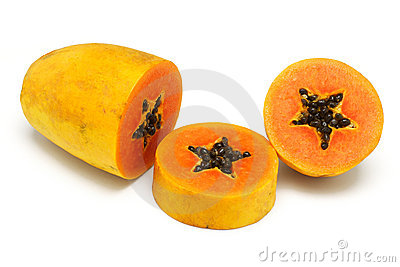 Cut up papaya fruit