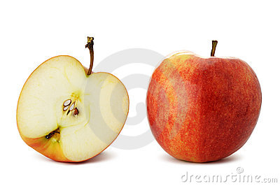 The cut and whole apple