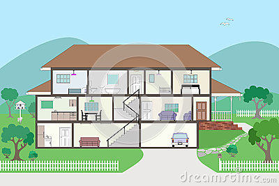 Cutaway Cross Section House - grouped and layered