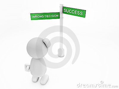 Cute 3d Guy Is Unsure Where To Go(happyman Series) Royalty Free Stock Photo - Image: 13011305