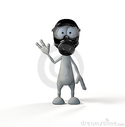 Cute 3d guy wearing a gas mask
